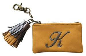 Anthropologie New Sold Out Anthro Yellow Leather Tasseled Monogram Coin Pouch K