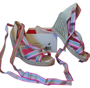 Coach Wedge Sandal Espadrille Pink Multi Sandals