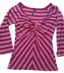 The Limited Striped Majenta Pink V-neck T Shirt Pinks