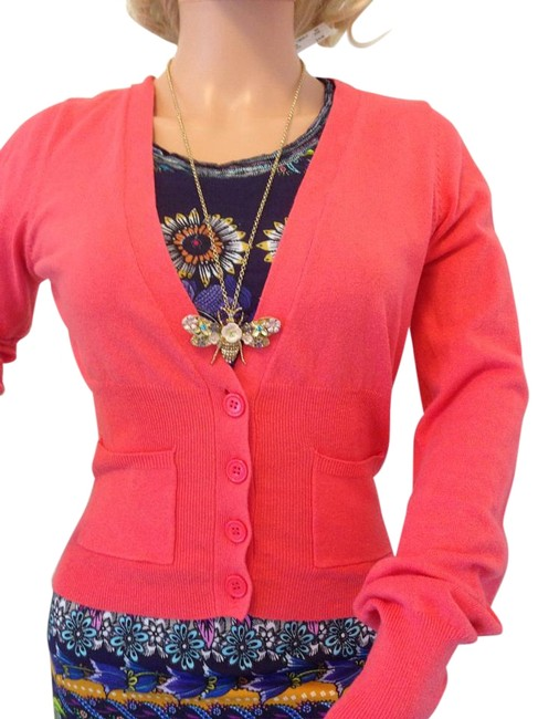 Pink Rose Coral Button Up Cardigan Size 12 (L) Pink Rose Coral Button Up Cardigan Size 12 (L) Image 1