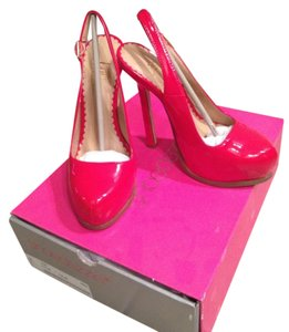 ShoeDazzle Sexy Red Hot Stiletto Slingback Patent Red Patent Platforms