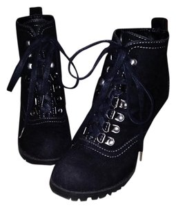 Mossimo Moto Lace Up Stiletto Tie Rubber Sole Black suede Boots