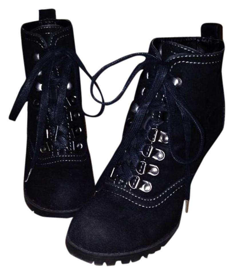 8d3ddd04c2c2 Mossimo Supply Co. Black Suede Moto Lace Up Stiletto Tie Rubber Sole Boots  Booties. Size  US 5.5 Regular (M ...