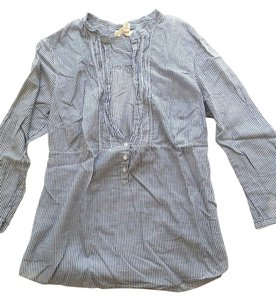 Hollister Striped Sheer Open Button Cover Up Button Down Shirt Navy Ivory