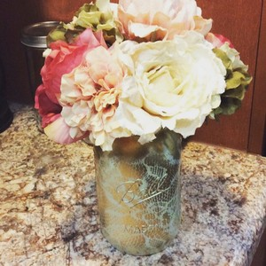 Ball Ivory and Gold 20 Hand Painted Lace Overlay Mason Jars Centerpiece