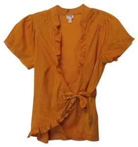 Edme & Esyllte Anthropologie Wrap Wrap Xs Cotton Top Orange