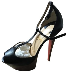 Christian Louboutin Amy Kid 160 T-strap Pumps Black Platforms