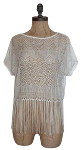 Derek Heart Sheer See Through Fringe Hem Top IVORY