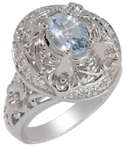 "Victoria Wieck Victoria Wieck 1.11ct Aquamarine and White Topaz Sterling Silver ""Vine"" Ring - Size 5"