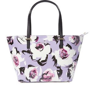 Kate Spade Rose Floral Coated Canvas Tote in Lavender Lilac