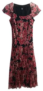 Alfani Floral Reds Blacks Silk Dress