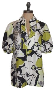 Banana Republic Silk Floral Print Top MULTI COLOR