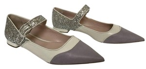 Miu Miu Silver Glitter Point Toe Mixed Media Sold Out! LAVENDER/SILVER/IVORY Flats