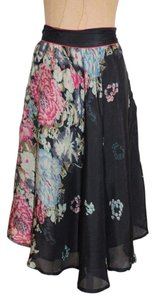 CASBAH CAFE Floral Silk Print Skirt MULTI COLOR