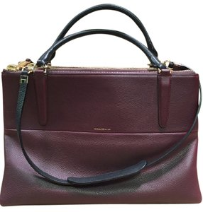 Coach Leather Pebbled Leather And Shoppers Tote in Burgundy