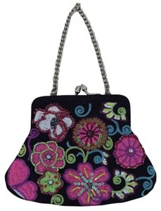 Vera Bradley Black With Sequin Flowers Clutch