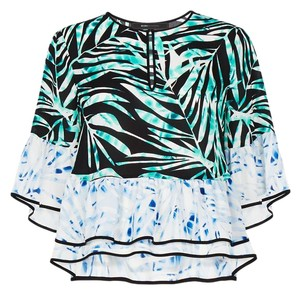 BCBGMAXAZRIA Top palm and stripped print