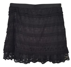 locano Lace Lace Trim Mini Skirt black