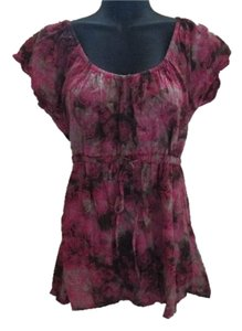 Maurices Floral Summer Abstract Top Pink & Brown