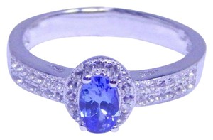 TANZANITE DAZZLING OVAL SHAPE TANZANITE RING WHITE TOPAZ IN PAVE SETTING BENEFITS STERLING SILVER