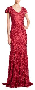 Theia V-neck Evening Petal Gown Dress