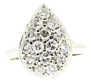 LOTS OF DIAMONDS - STEAL 14 karat white gold 1 & 1/5 ct pear shaped diamond ring