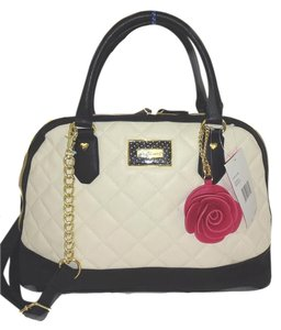Betsey Johnson Dome Quilted Diamonds Satchel in bone/black trim