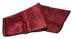 Stefano Ricci Stefano Ricci Red and Black Silk Paisley Print Pocket Square