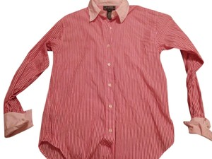 Ralph Lauren French Cuff Button Down Button Down Shirt red & white
