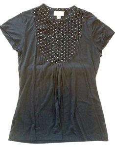 Ann Taylor LOFT Polka Dot Top Dark Navy
