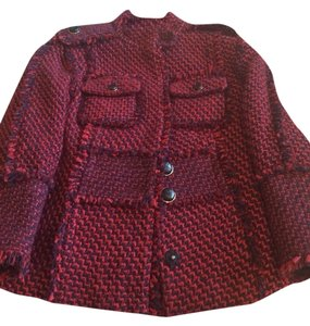 Tory Burch Burgundy And Navy Tweed Jacket