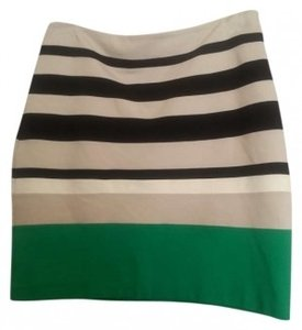 Express Bodycon Mini Skirt Green, Tan & Black Stripe