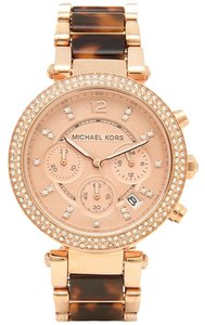 Michael Kors MK5538 Parker Chronograph Rose Dial Rose Gold-plated Tortoise-shell Acetate Ladies Watch