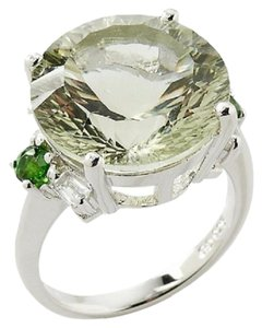 11.66ct Green Quartz and Green Chrome Diopside Sterling Silver Ring - Size 7