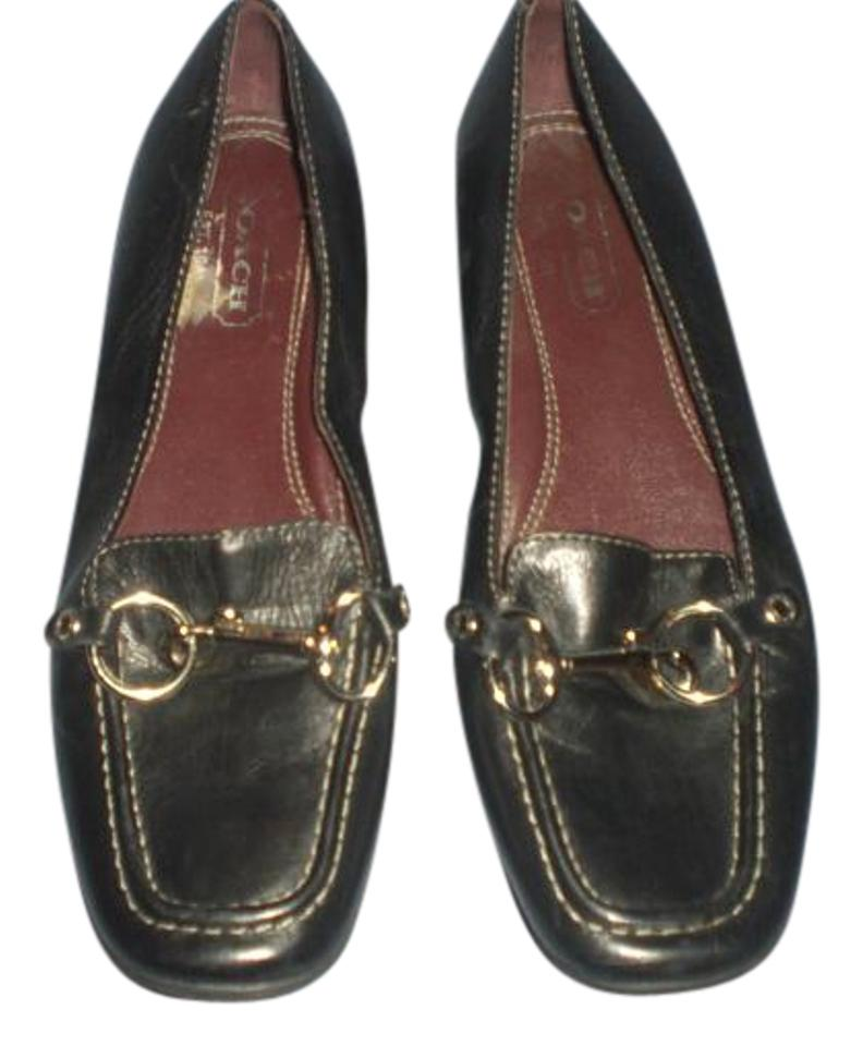 48c25c6163e Coach Black Dorie Leather Loafers with Silver Tone M Flats Size US ...