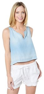 Bella Dahl Crop Denim Tencel Summer Top Blue