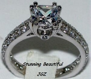 1.5 Ct Princess Cut Solitaire Ring * Exclusive * Sz 7 * New *