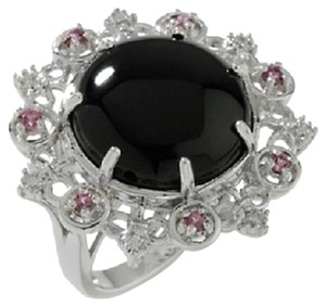Black Onyx, Rhodolite and Diamond-Accented Sterling Silver Statement Ring - Size 7