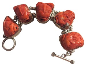 Stephen Dweck Stephen Dweck 2000 Chunky Carved Coral Fish Sterling Toggle Bracelet