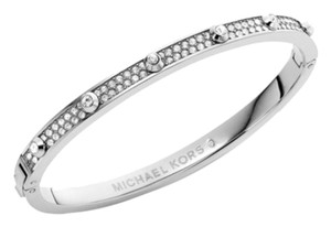 Michael Kors Silver-Tone Crystal Hinged Bangle Bracelet