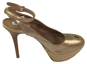Jennifer Lopez Slingback Heels Peep Toe Womens Bronze Sandals