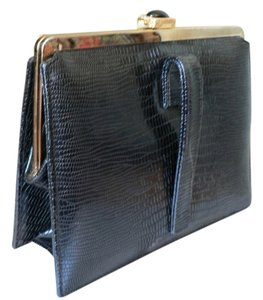 Meyers Vintage 1960's Faux Lizard Impressed On Leather Black Clutch