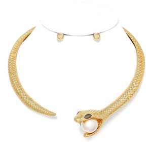 Modern Edge Pearl Accented Metal Snake Open Choker Necklace