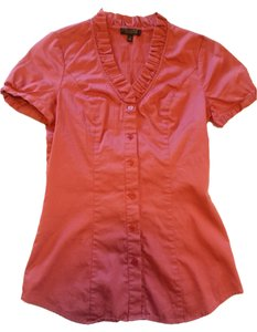 The Limited Sateen Tailored Ruffled Collar Button Down Shirt Dusty Rose