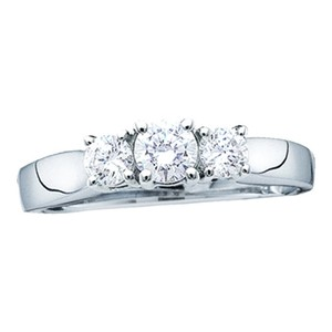 14k White Gold .50 Cttw 3 Stone Round Diamond Luxury Designer Anniversary Ring