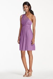 David's Bridal Wisteria One Shoulder Dress With Illusion Neck Dress
