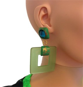 Other Large Vintage pierced Green square earrings