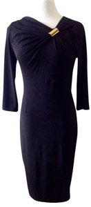 David Meister 3/4 Sleeve Metal Accent Dress