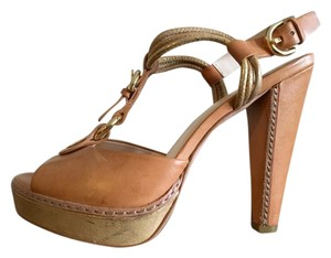 Coach T-strap Gold Buckle gold, brown, tan Sandals
