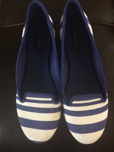 Ann Taylor Size 8 Smoking Slippers Blue and White Stripe Flats